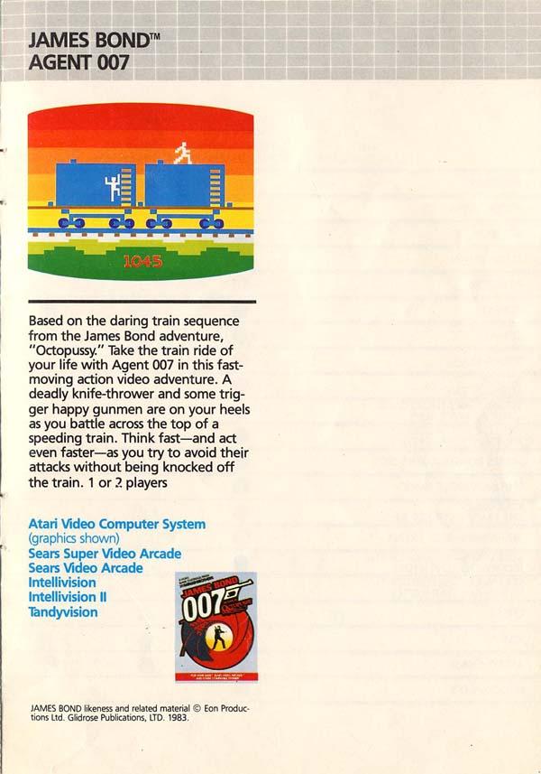 La escena del tren de Octopussy en Atari 2600