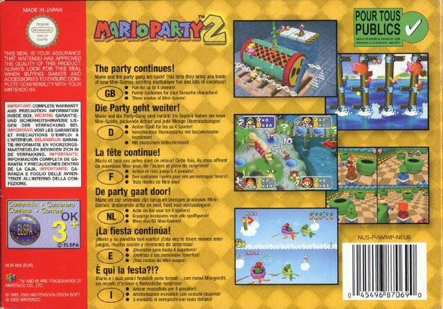 Mario Party 2 contraportada de Nintendo 64