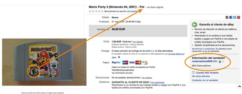 Captura de pantalla subasta de Ebay