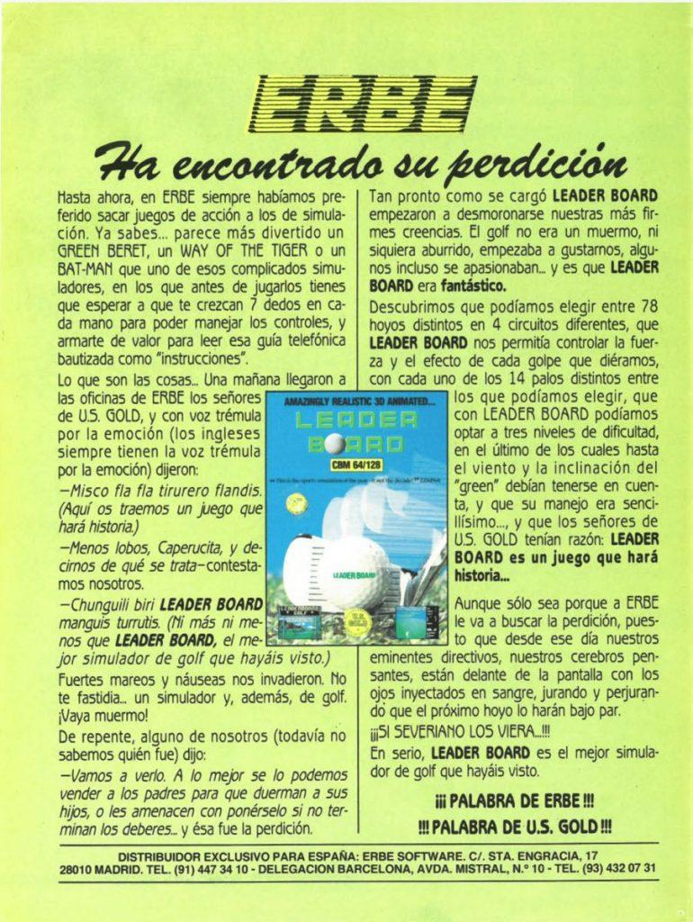 Anuncio Leader Board C64 en revista Input Commodore