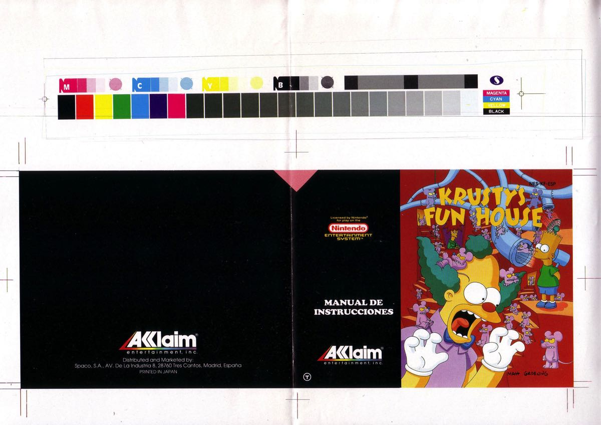 Manual en Castellano Krusty Fun House Nintendo NES