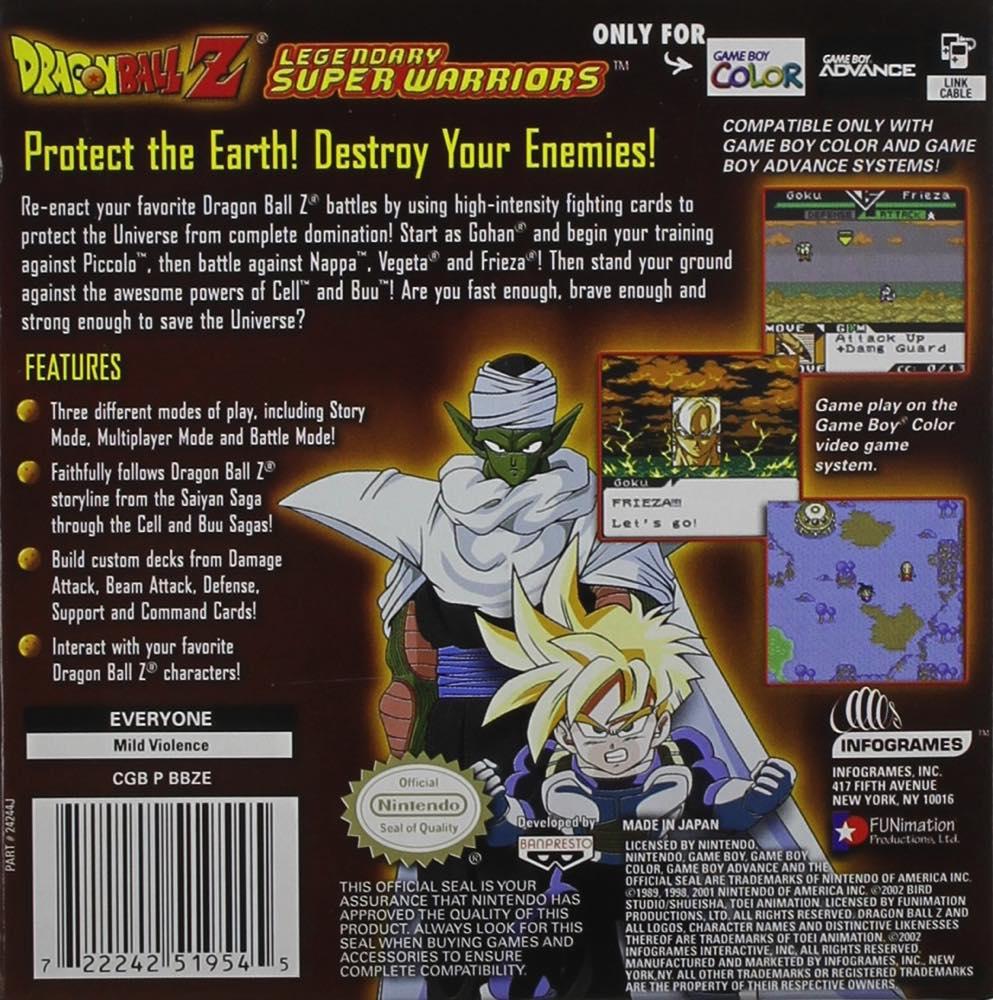Dragon Ball Z: Legendary Super Warriors - Game Boy Color