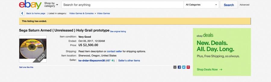 Prototipo de Sega Saturn vendido en Ebay