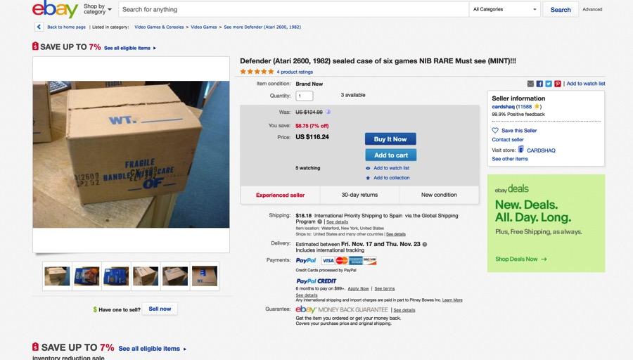 Subasta de Ebay con juegos nuevos de Atari 2600 en 2017