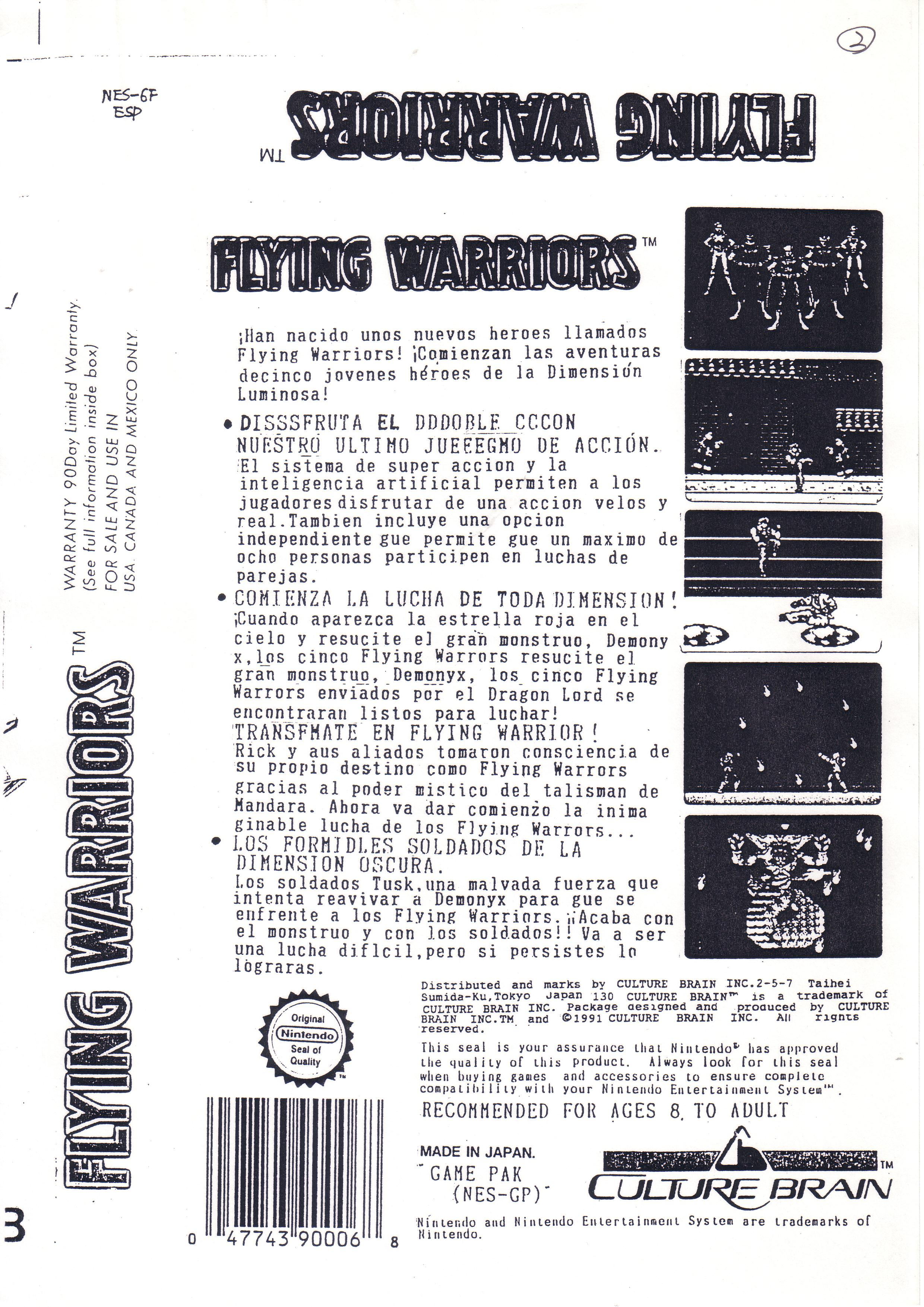 Flying Warriors Español de NES