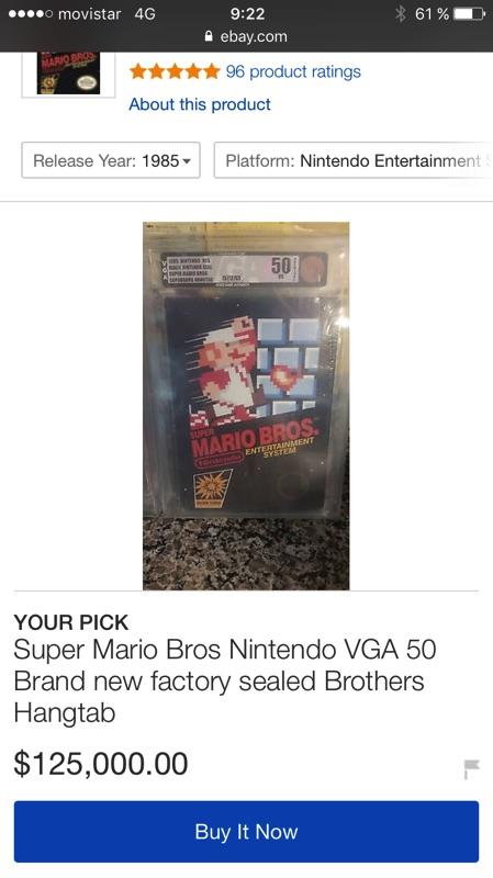 Super Mario de cinco millones de pesetas