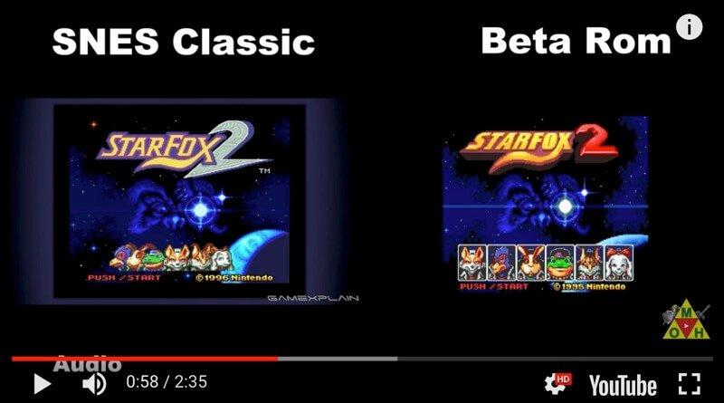 Imágenes de la beta de StarFox 2 Vs el de la SNES classic