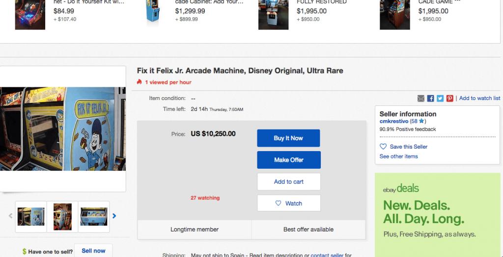 Máquina arcade Fix it Felix Jr original a la venta en Ebay