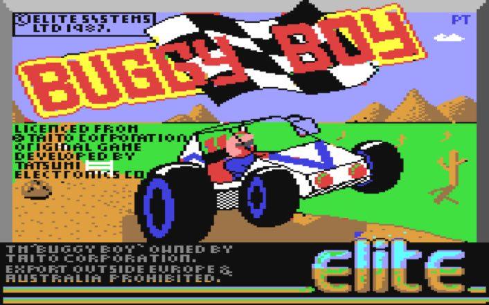 Pantalla de carga del juego Buggy Boy para C64