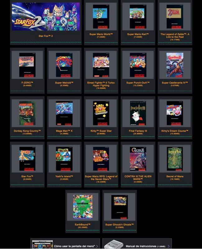 Manuales online SNES Classic Mini