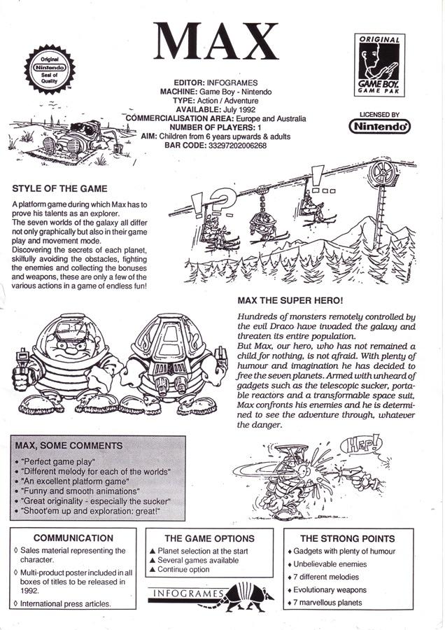 Boceto de Max para Nintendo GB
