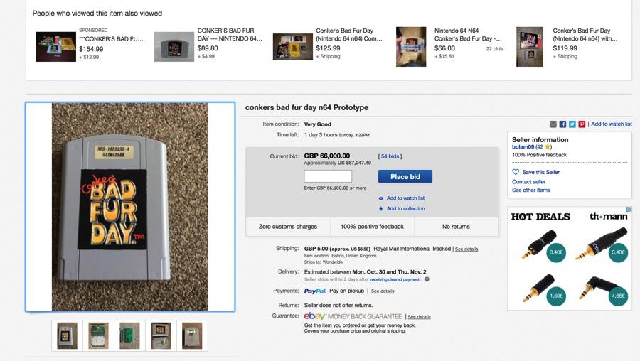 Subasta prototipo Conker para Nintendo 64 en Ebay