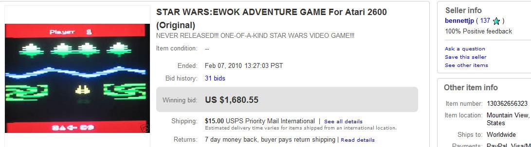 Subasta Ewok Adventure Atari 2600