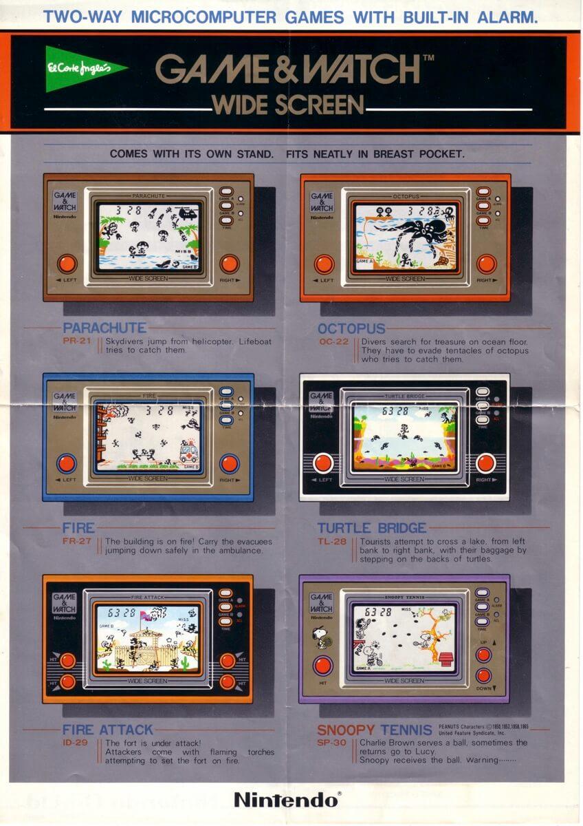 Flyer maquinitas Nintendo del el Corte Inglés 1983