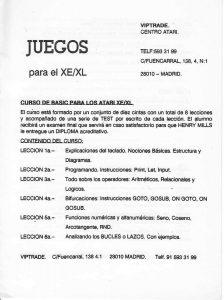 Listado de precios Software Atari XE / XL Año 1989