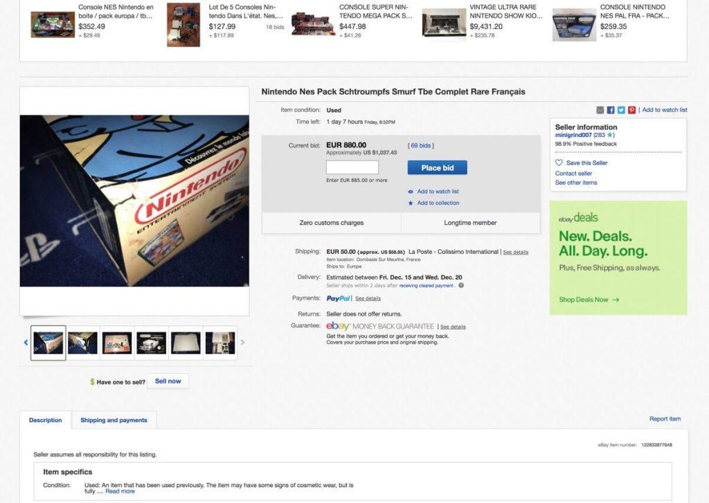 Subasta Nintendo NES edición los pitufos en Ebay